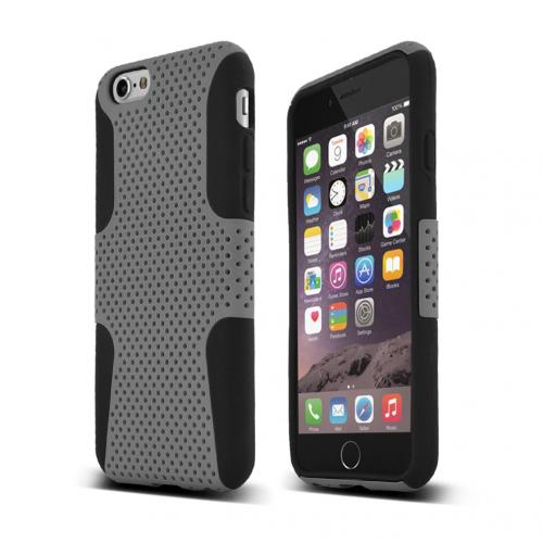 Apple iPhone 6/ 6S Case,  [Gray] Rubberized Mesh Slim & Flexible Dual Layer Hard Cover on Silicone case