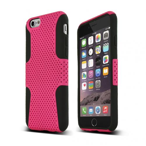Apple iPhone 6/ 6S Case,  [Hot Pink] Rubberized Mesh Slim & Flexible Dual Layer Hard Cover on Silicone case