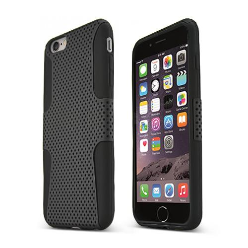 Apple iPhone 6 PLUS/6S PLUS (5.5 inch) Heavy Case,  [Black] Rubberized Mesh Supreme Protection Silicone Dual Layer Hybrid Case