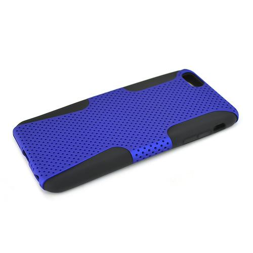 Apple iPhone 6 PLUS/6S PLUS (5.5 inch) Heavy Case,  [Blue/ Black] Rubberized Mesh Supreme Protection Silicone Dual Layer Hybrid Case