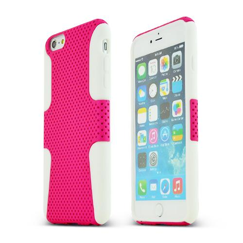 Apple iPhone 6 PLUS/6S PLUS (5.5 inch) Heavy Case,  [Hot Pink/ White] Rubberized Mesh Supreme Protection Silicone Dual Layer Hybrid Case