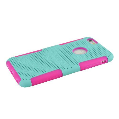 Apple iPhone 6 PLUS/6S PLUS (5.5 inch) Heavy Case,  [Mint/ Hot Pink] Rubberized Mesh [Logo-Cut-Out] Supreme Protection Silicone Dual Layer Hybrid Case