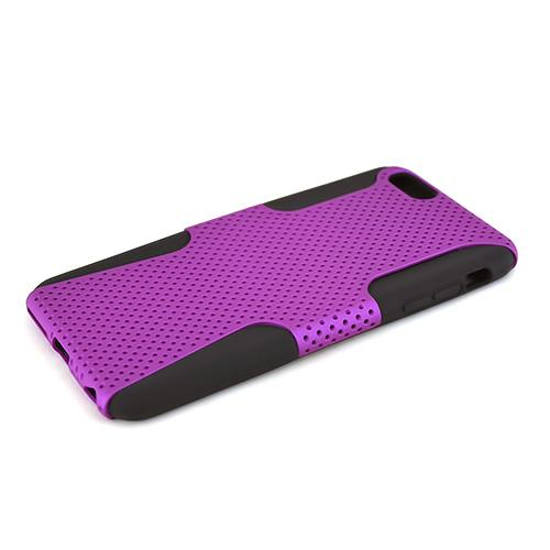 Apple iPhone 6 PLUS/6S PLUS (5.5 inch) Heavy Case,  [Purple/ Black] Rubberized Mesh Supreme Protection Silicone Dual Layer Hybrid Case