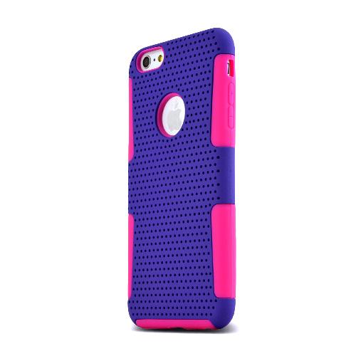 Apple iPhone 6 PLUS/6S PLUS (5.5 inch) Heavy Case,  [Purple/ Hot Pink] Rubberized Mesh [Logo-Cut-Out] Supreme Protection Silicone Dual Layer Hybrid Case