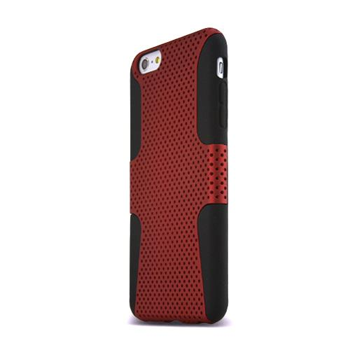 Apple iPhone 6 PLUS/6S PLUS (5.5 inch) Heavy Case,  [Red/ Black] Rubberized Mesh Supreme Protection Silicone Dual Layer Hybrid Case