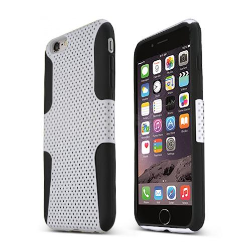 Apple iPhone 6 PLUS/6S PLUS (5.5 inch) Heavy Case,  [White/ Black] Rubberized Mesh Supreme Protection Silicone Dual Layer Hybrid Case