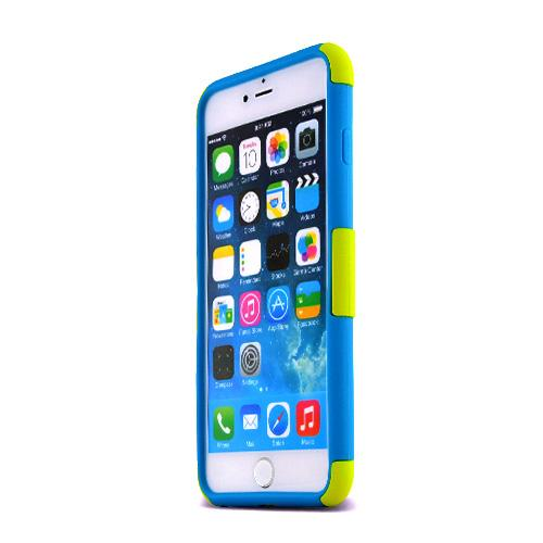 Apple iPhone 6 PLUS/6S PLUS (5.5 inch) Heavy Case,  [Yellow/ Teal] Rubberized Mesh [Logo-Cut-Out] Supreme Protection Silicone Dual Layer Hybrid Case