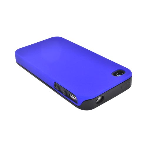 Luxmo Apple iPhone 4 Silicone Case w/ Rubberized Back Cover - Blue