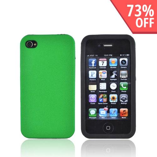 Luxmo Apple Verizon/ AT&T iPhone 4, iPhone 4S Rubberized Hard Case w/ Silicone Case - Green/Black