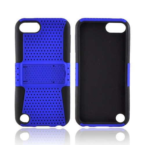 Apple iPod Touch 5 Rubberized Hard Case Over Silicone w/Stand - Blue Mesh on Black