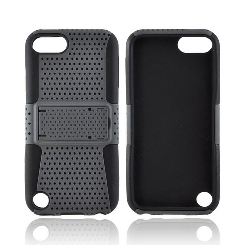 Apple iPod Touch 5 Rubberized Hard Case Over Silicone w/Stand - Gray Mesh on Black