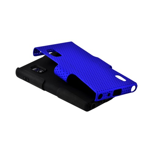 Blue Mesh on Black Silicone Hard Case for LG Optimus G (AT&T)