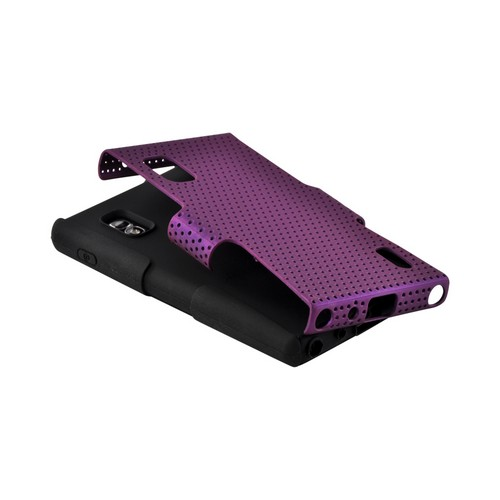 Purple Mesh on Black Silicone Hard Case for LG Optimus G (AT&T)