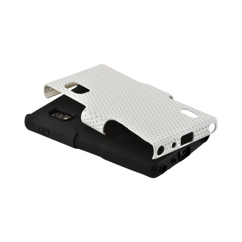 White Mesh on Black Silicone Hard Case for LG Optimus G (AT&T)
