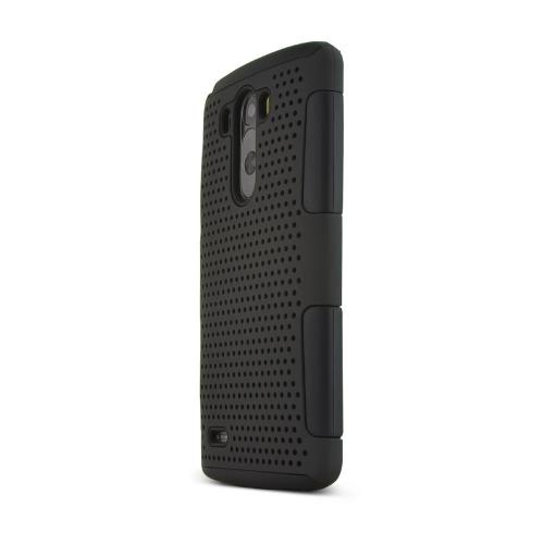 LG G3 Case,  [Black] Rubberized Mesh Hard Cover on Black Silicone Skin Dual Layer Case