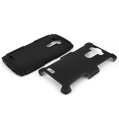 LG G4 Case, [Black] Supreme Protection Rubberized Plastic on Silicone Dual Layer Hybrid Case