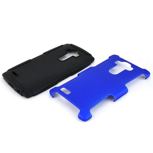 LG G4 Case, [Blue] Supreme Protection Rubberized Plastic on Silicone Dual Layer Hybrid Case