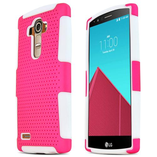 LG G4 Case, [Hot Pink] Supreme Protection Rubberized Plastic on Silicone Dual Layer Hybrid Case