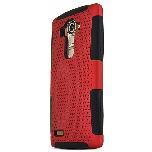 LG G4 Case, [Red] Supreme Protection Rubberized Plastic on Silicone Dual Layer Hybrid Case
