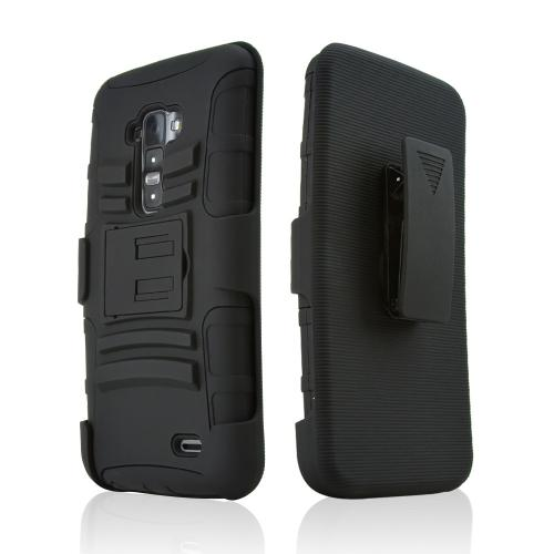 Black Rubberized Hard Case w/ Kickstand on Black Silicone Skin Case w/ Holster for LG G Flex