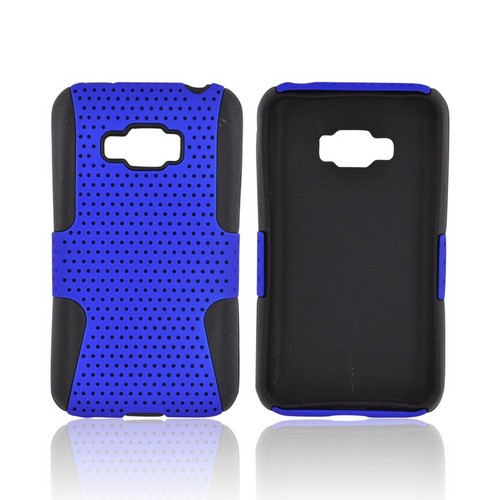LG Optimus Elite Rubberized Hard Case Over Silicone - Blue Mesh on Black