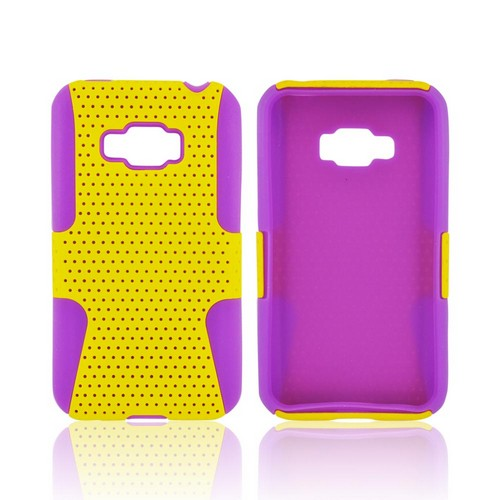 LG Optimus Elite Rubberized Hard Case Over Silicone - Yellow Mesh on Purple