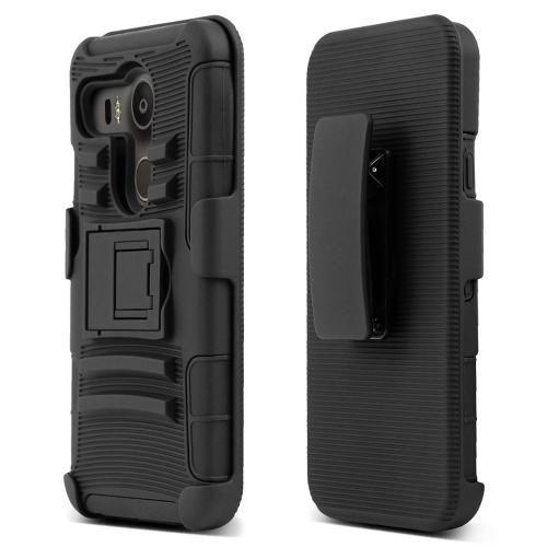 LG Google Nexus 5X Holster Case, [Black] Rubberized Matte Plastic on Silicone Dual Layer Hybrid Case