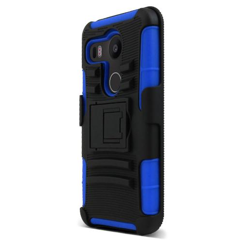 LG Google Nexus 5X Case, [Blue/ Black]  Rubberized Matte Plastic on Silicone Dual Layer Hybrid Case