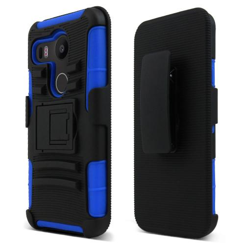 LG Google Nexus 5X Holster Case, [Blue/ Black] Rubberized Matte Plastic on Silicone Dual Layer Hybrid Case