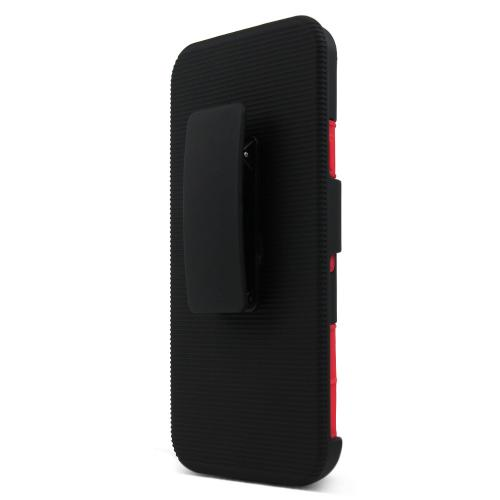 LG Google Nexus 5X Case, [Red/ Black]  Rubberized Matte Plastic on Silicone Dual Layer Hybrid Case