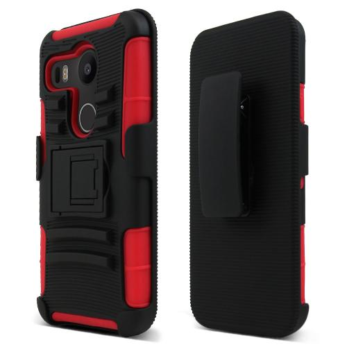 LG Google Nexus 5X Holster Case, [Red/ Black] Rubberized Matte Plastic on Silicone Dual Layer Hybrid Case
