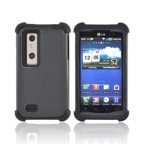 LG Thrill 4G Perforated Hybrid Hard Cover Over Silicone Case - Black