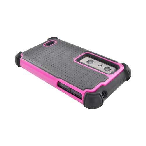 LG Thrill 4G Perforated Hybrid Hard Cover Over Silicone Case - Hot Pink/ Black