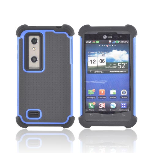 LG Thrill 4G Perforated Hybrid Hard Cover Over Silicone Case - Blue/ Black