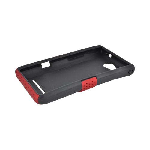 LG Lucid 4G Rubberized Hard Case Over Silicone - Red Mesh on Black