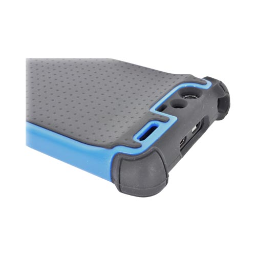 Motorola Droid RAZR Perforated Hybrid Hard Cover Over Silicone Case - Black/ Blue