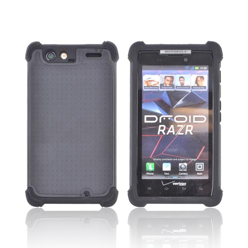 Motorola Droid RAZR Perforated Hybrid Hard Cover Over Silicone Case - Black