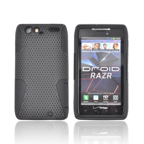 Motorola Droid RAZR Rubberized Hard Case Over Silicone - Black Mesh
