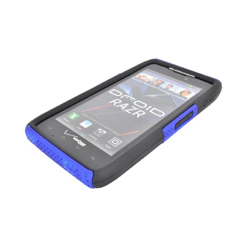 Motorola Droid RAZR Rubberized Hard Case Over Silicone - Blue Mesh on Black
