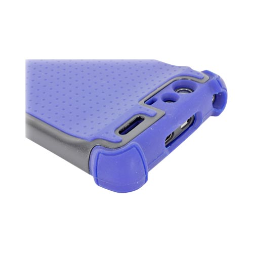 Motorola Droid RAZR Perforated Hybrid Hard Cover Over Silicone Case - Dark Blue/ Black