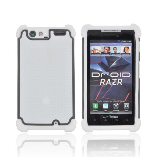 Motorola Droid RAZR Perforated Hybrid Hard Cover Over Silicone Case - Solid White/ Black