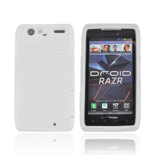 Motorola Droid RAZR Rubberized Hard Case Over Silicone - White Mesh