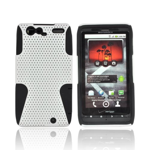 Motorola Droid RAZR Rubberized Hard Case Over Silicone - White Mesh on Black