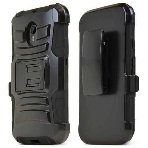 Motorola Moto G 2015 Holster Case, [Black] Rubberized Matte Plastic on Silicone Dual Layer Hybrid Case