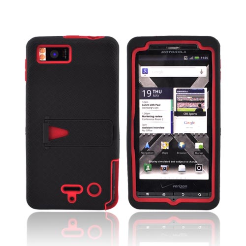 Motorola Droid X2 MB870 Rubberized Hard Case w/ Stand & Silicone Case - Red/ Black