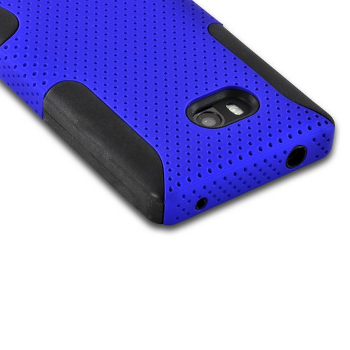 Blue Mesh on Black Silicone Hybrid Case for Nokia Lumia 810