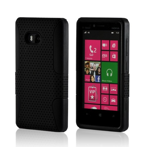 Black Mesh on Black Silicone Hybrid Case for Nokia Lumia 810