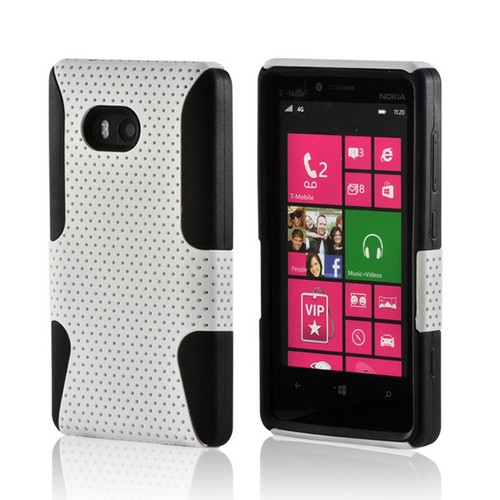 White Mesh on Black Silicone Hybrid Case for Nokia Lumia 810