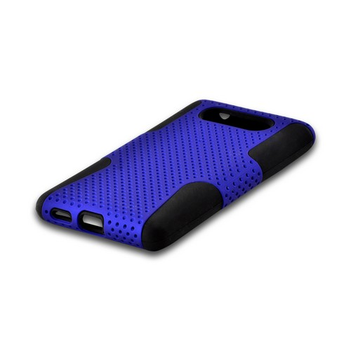 Blue Mesh on Black Rubberized Hard Cover on Silicone for Nokia Lumia 820