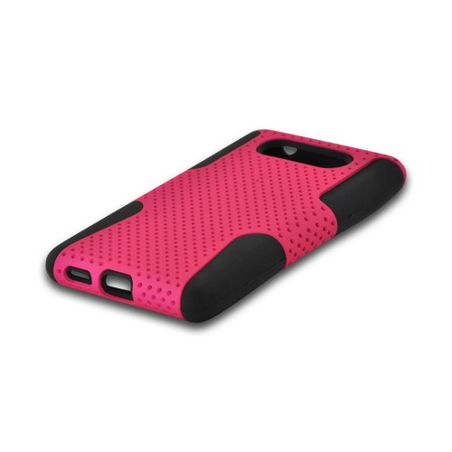 Hot Pink Mesh on Black Rubberized Hard Cover on Silicone for Nokia Lumia 820